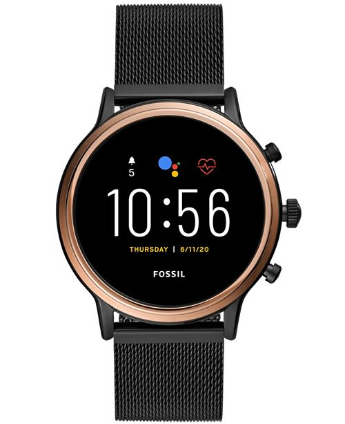 Fossil Tech Gen 5 Julianna Hr Black Leather Smart Watch 44mm Powered By Wear Os By Google Reviews Watches Jewelry Watches Macy S