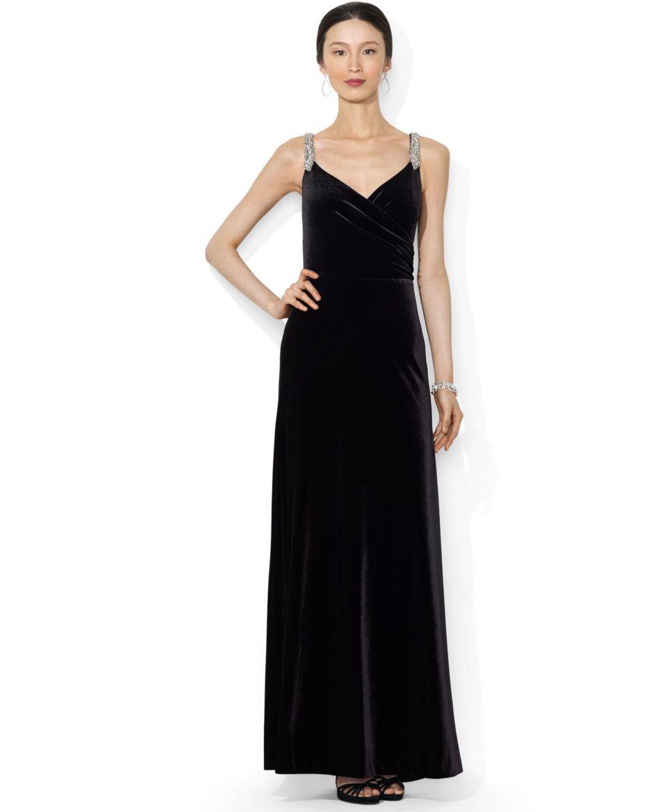 Lauren Ralph Lauren Sleeveless Velvet Sweetheart Gown   Dresses   Women