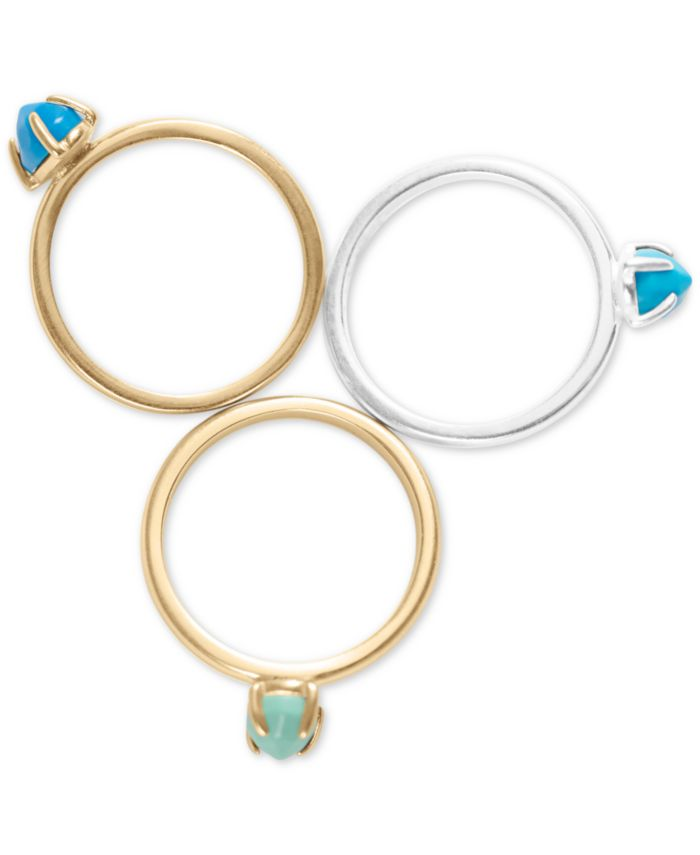 Lucky Brand Two-Tone 3-Pc. Set Stone Rings & Reviews - Rings - Jewelry & Watches - Macy's