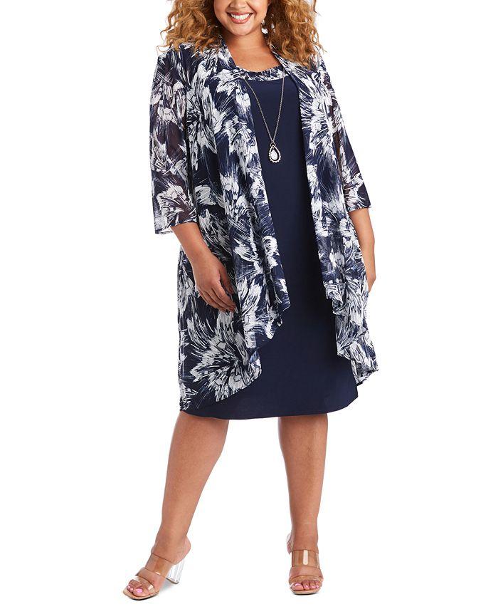 R & M Richards - Plus Size Mesh Jacket & Dress