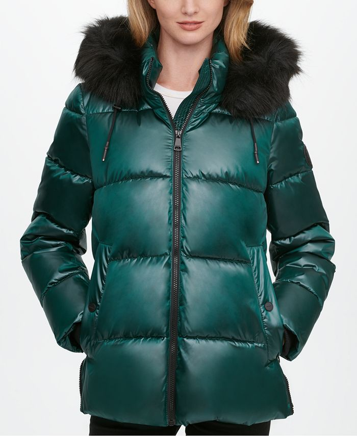 DKNY - High-Shine Faux-Fur Trim Hooded Puffer Coat