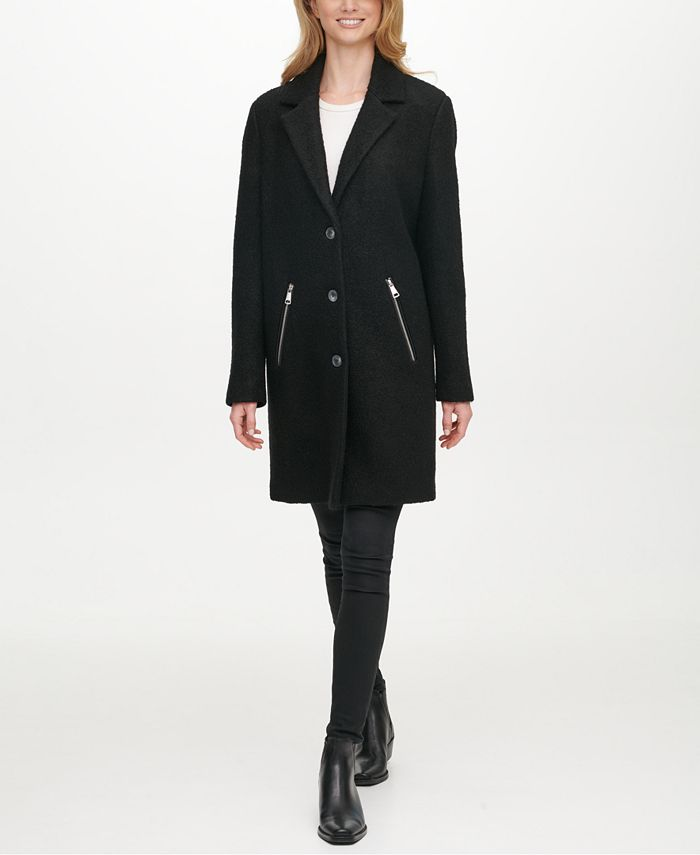 DKNY - Single-Breasted Bouclé Reefer Coat
