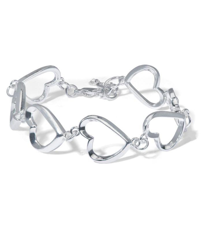 Macy's Fine Silver Plate Heart Link Bracelet & Reviews - Bracelets - Jewelry & Watches - Macy's