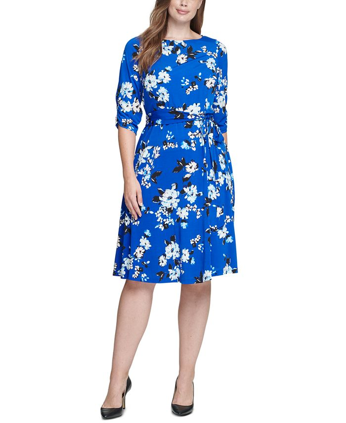 Jessica Howard - Plus Size Floral-Print Midi Dress