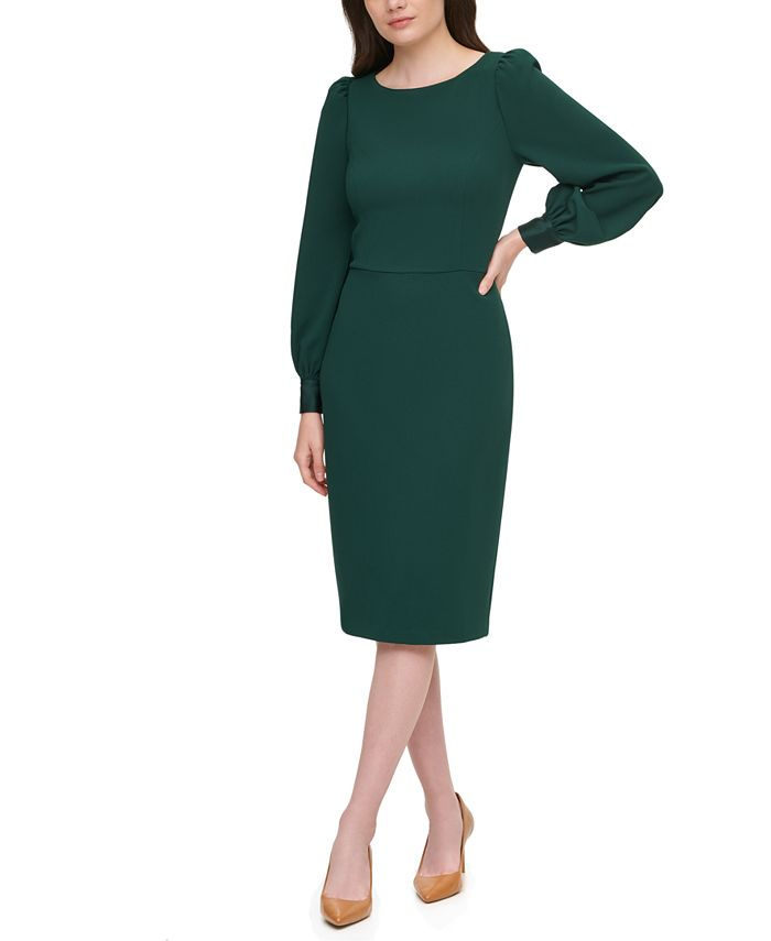 Calvin Klein - Puff-Sleeve Sheath Dress