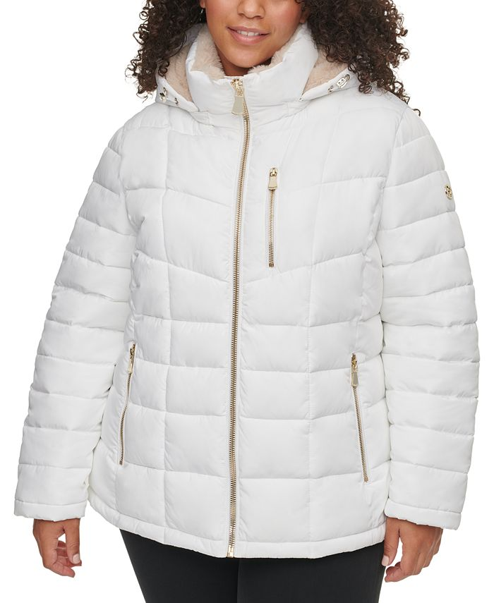 Calvin Klein - Plus Size Hooded Faux-Fur-Trim Puffer Coat