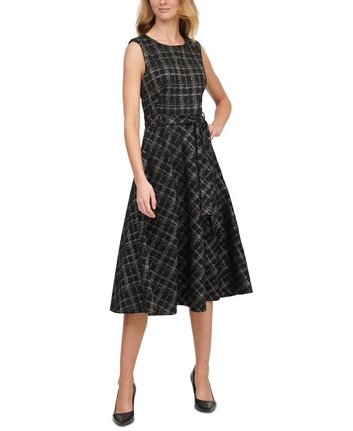 Calvin Klein - Metallic Plaid Ponte Belted Dress