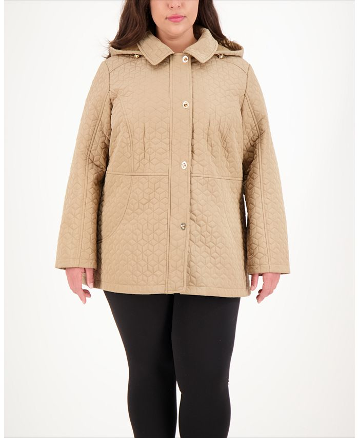 Jones New York - Plus Size Hooded Quilted Coat