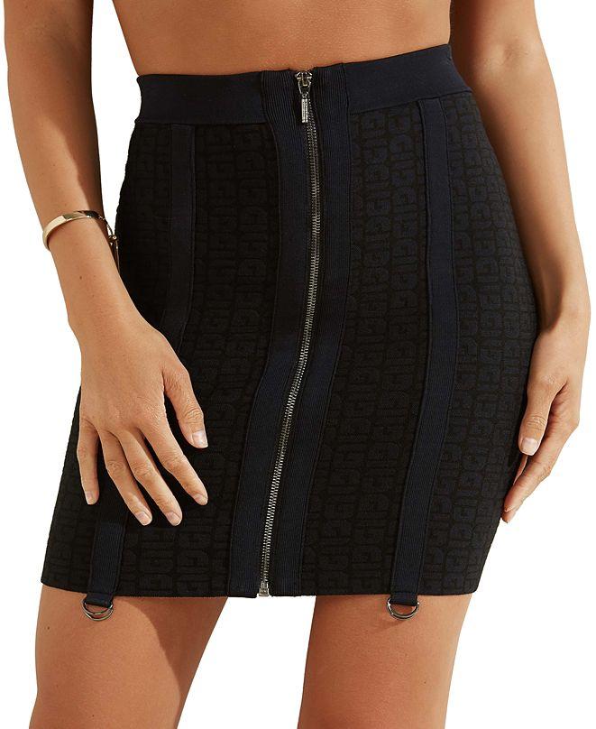 GUESS Mirage Logo Garter-Strap Zip Mini Skirt