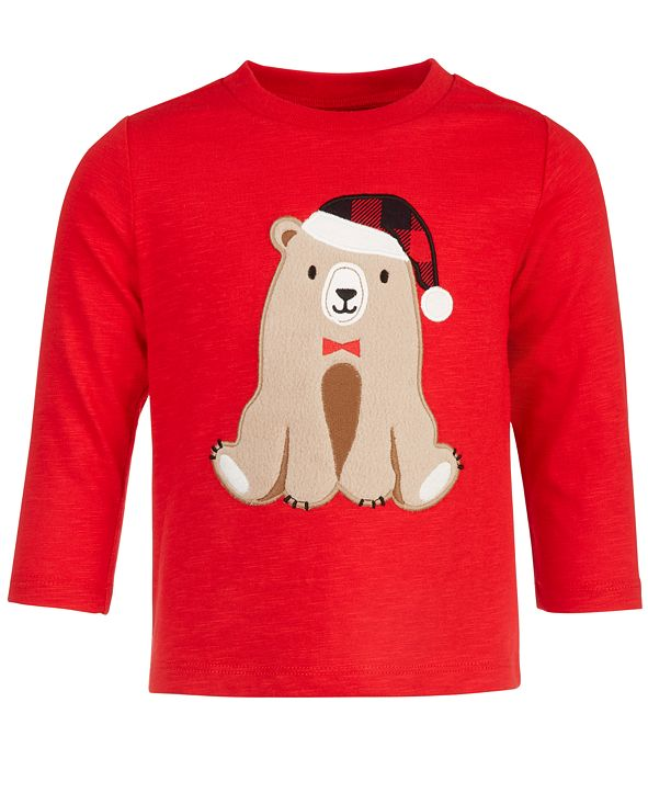 First Impressions Baby Boys Bear Long-Sleeve T-Shirt, Created for Macy's
