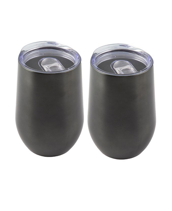 Thirstystone - 2 PACK OF 15 OZ BLACK STAINLESS STEEL WINE TUMBLERS