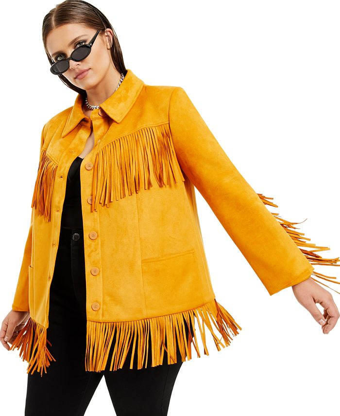 Danielle Bernstein - Plus Size Faux-Suede Fringe Jacket