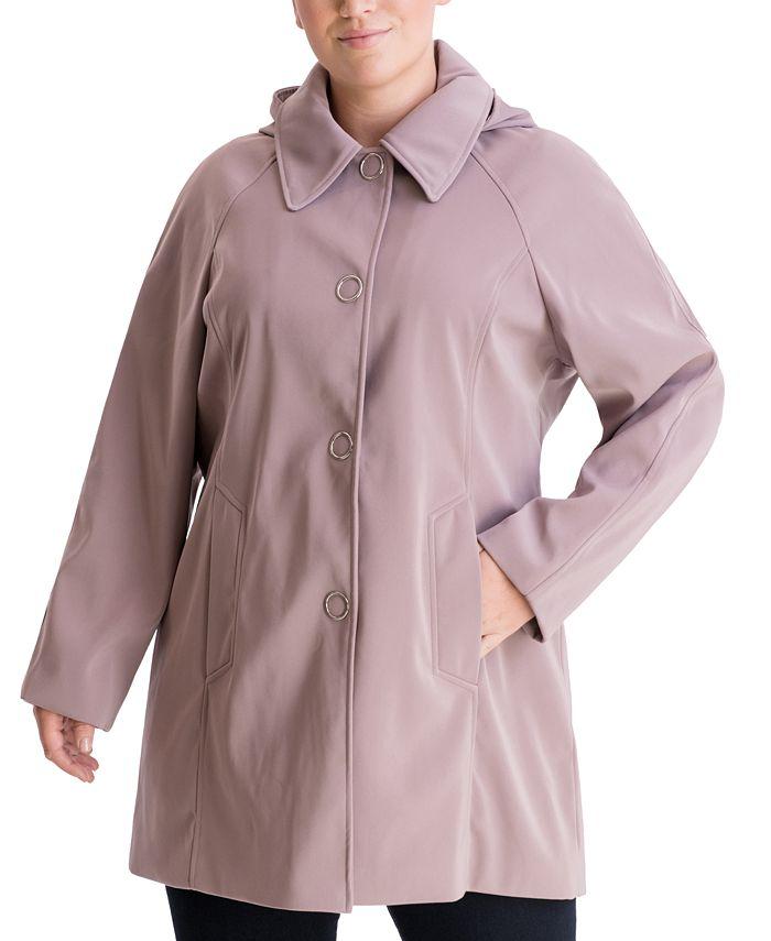 London Fog - Plus Size Single-Breasted Hooded Raincoat