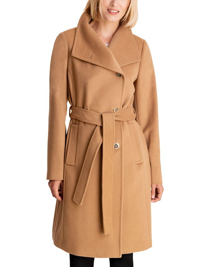 Michael Kors Petite Asymmetrical Belted Coat Created For Macy S Reviews Coats Petites Macy S