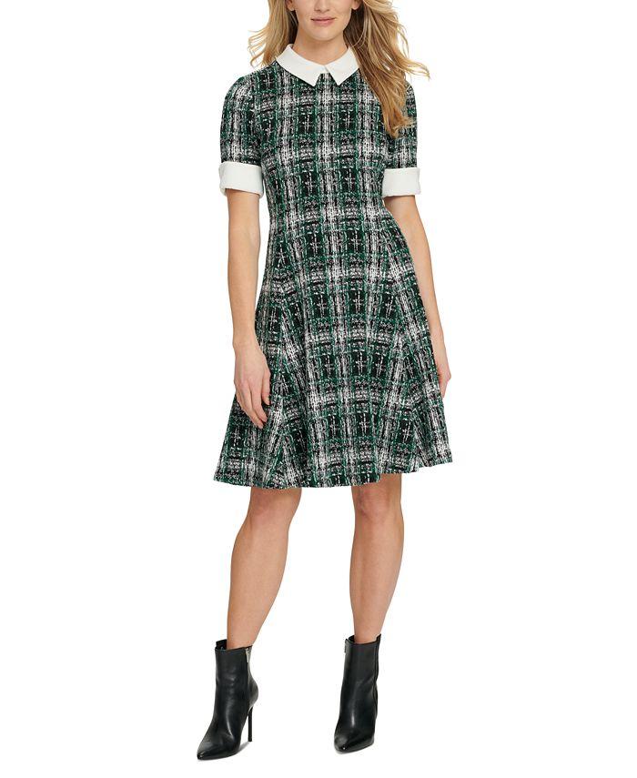 DKNY - Contrast-Trim Textured Dress