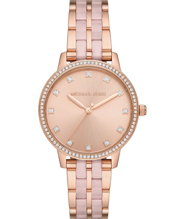 Michael Kors Women's Melissa Three-Hand Rose Gold-Tone Stainless Steel Bracelet Watch 36mm