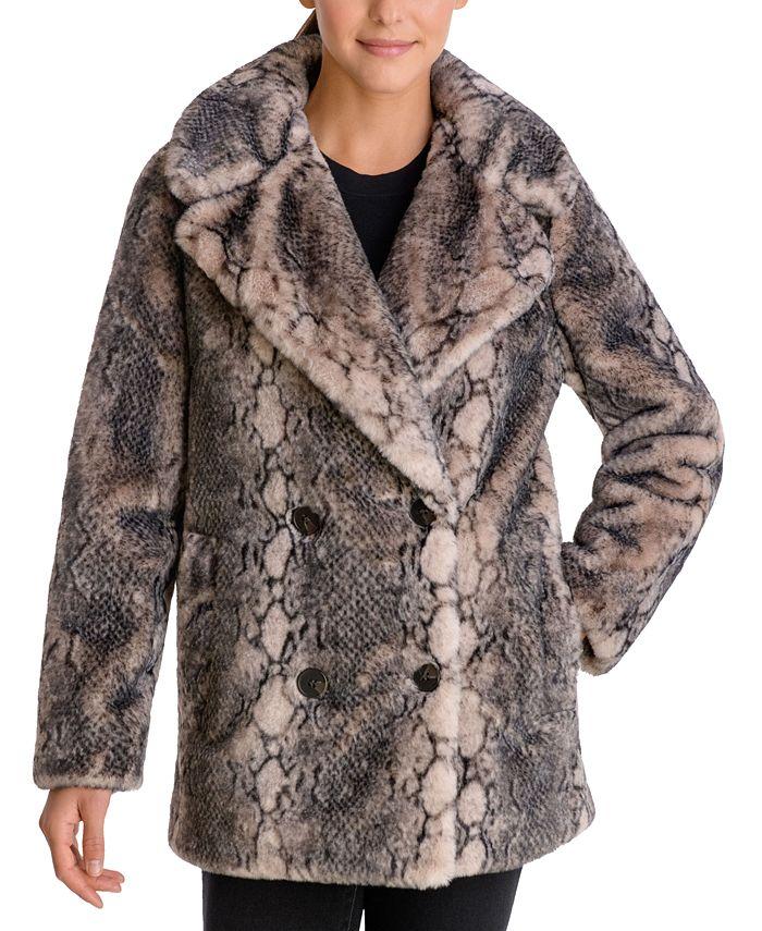 BCBGeneration - Snake-Embossed Faux-Fur Coat