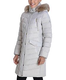 Michael Michael Kors Faux-Fur Trim Hooded Down Coat, Created for Macy's