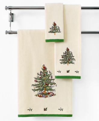 spode bath towels holiday tree collection
