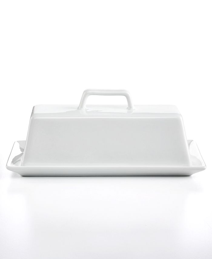 The Cellar Whiteware Covered Butter Dish Created For Macy S Reviews Serveware Dining Macy S