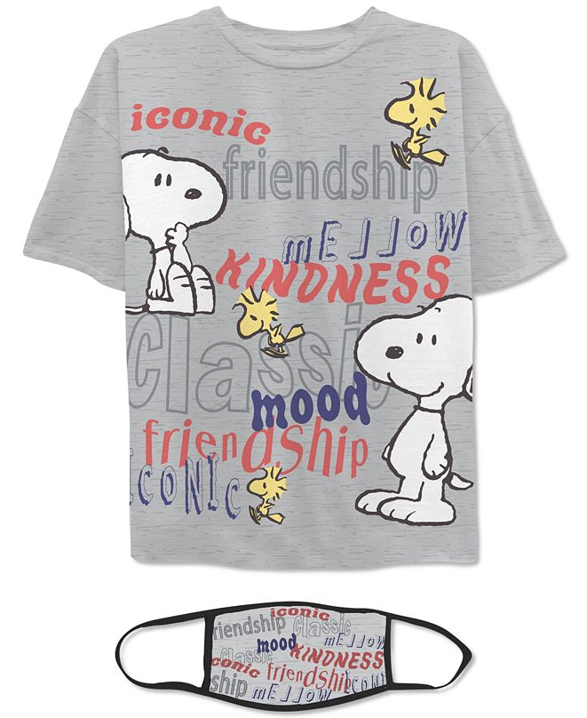 Warner Brothers Juniors' Snoopy T-Shirt & Face Mask