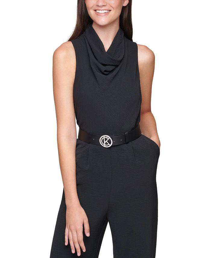 Calvin Klein - Plus Size Cowlneck Belted Jumpsuit