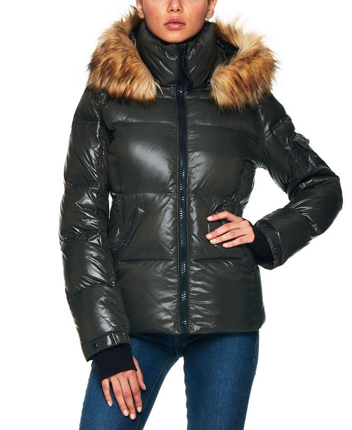 S13 - Allie Faux-Fur-Trim Hooded Puffer Coat
