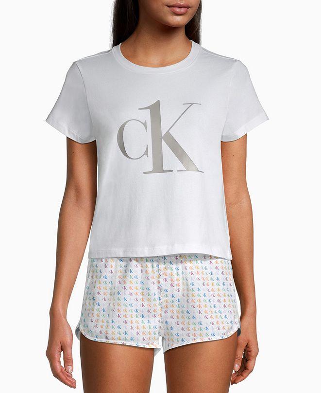 Calvin Klein CK One Rainbow Logo Pajama Shorts Set