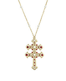 """2028 14K Gold Dipped Red and Imitation Pearl Double Cross 30"""" Necklace"""