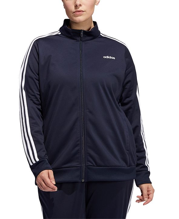 adidas Women's Plus Size Essential 3-Stripe Tricot Track Jacket