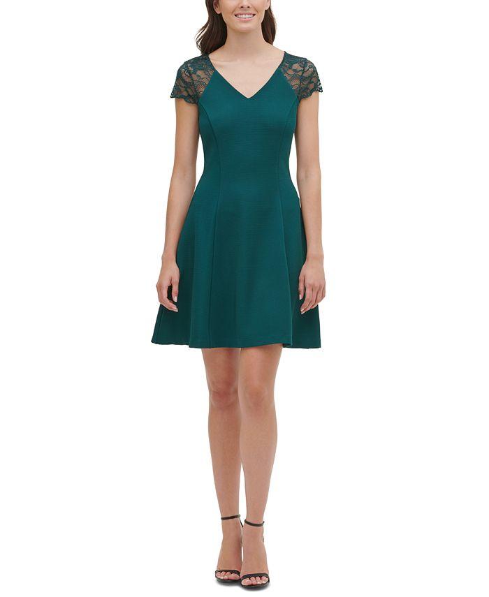 kensie - Lace-Cap-Sleeve Skater Dress