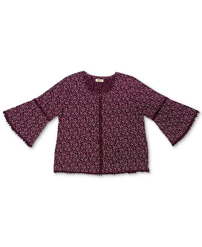 Style & Co - Plus Size Cotton Printed Lantern-Sleeve Top