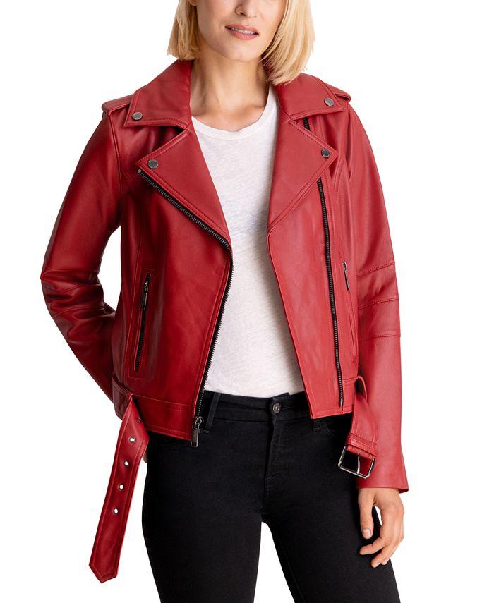 Michael Kors - Belted Leather Moto Jacket