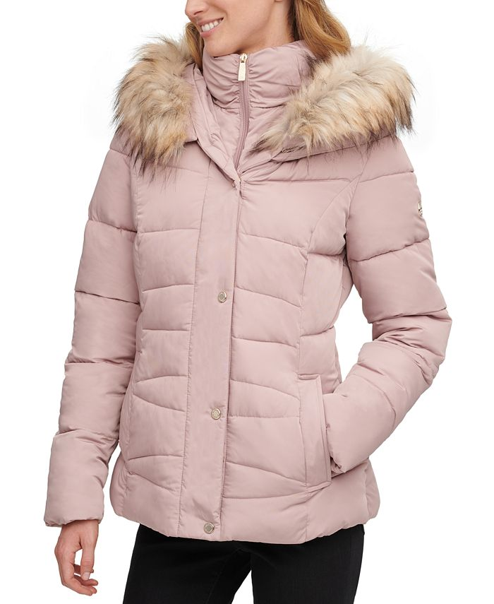 Calvin Klein - Faux-Fur-Trim Hooded Puffer Coat