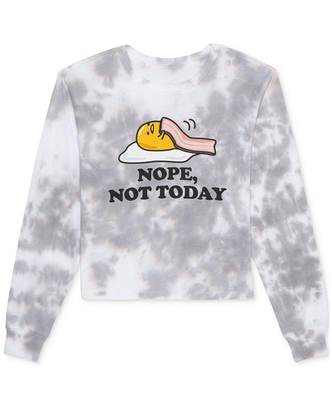 Love Tribe Juniors' Nope, Not Today Tie-Dyed Gudetama Long-Sleeve T-Shirt