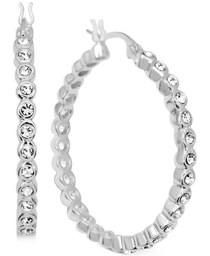 """Essentials - Crystal Bezel Medium Hoop Earrings in Fine Silver-Plate, 1.37"""""""