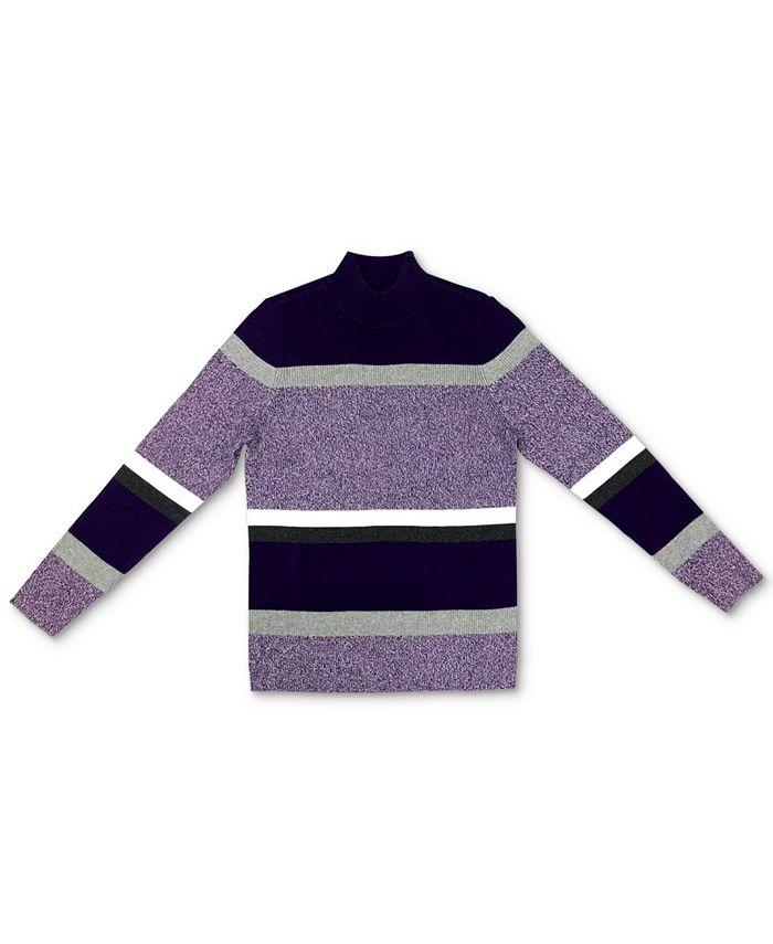 Karen Scott - Striped Cotton Turtleneck Sweater