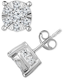 TruMiracle® Diamond Stud Earrings (2 ct. t.w.) in 14K White Gold