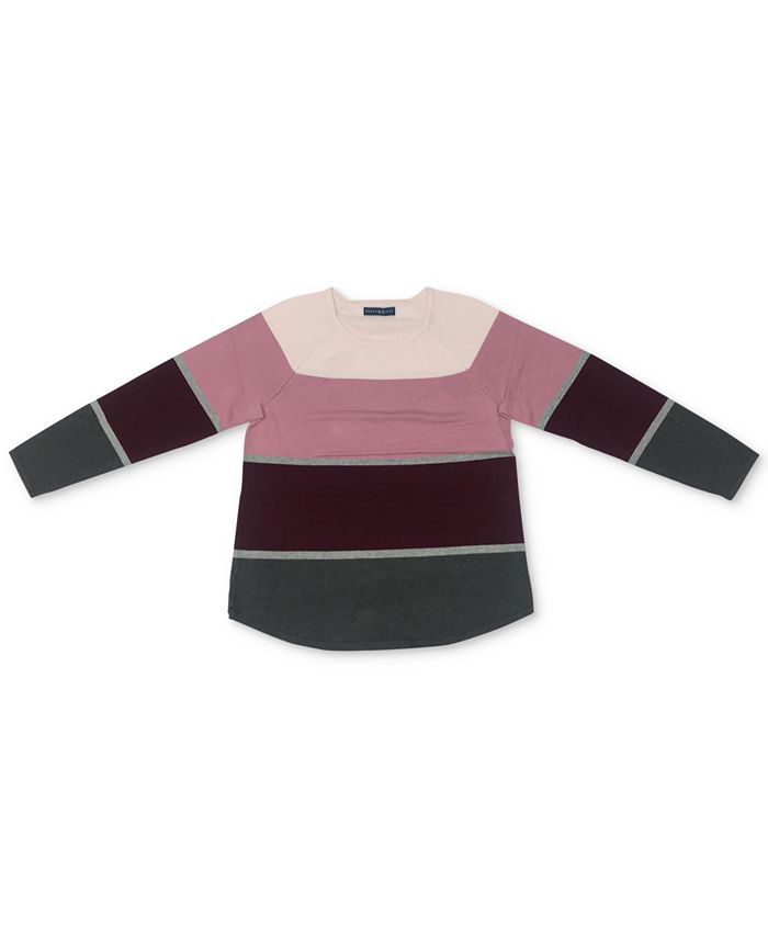 Karen Scott - Thea Colorblocked Curved-Hem Sweater
