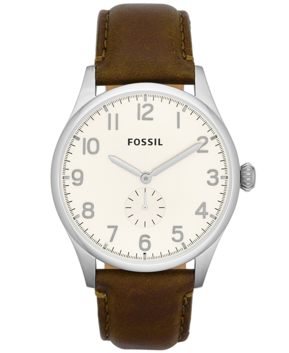 Fossil Mens Agent Brown Leather Strap Watch 42mm FS4851   Watches   Jewelry & Watches