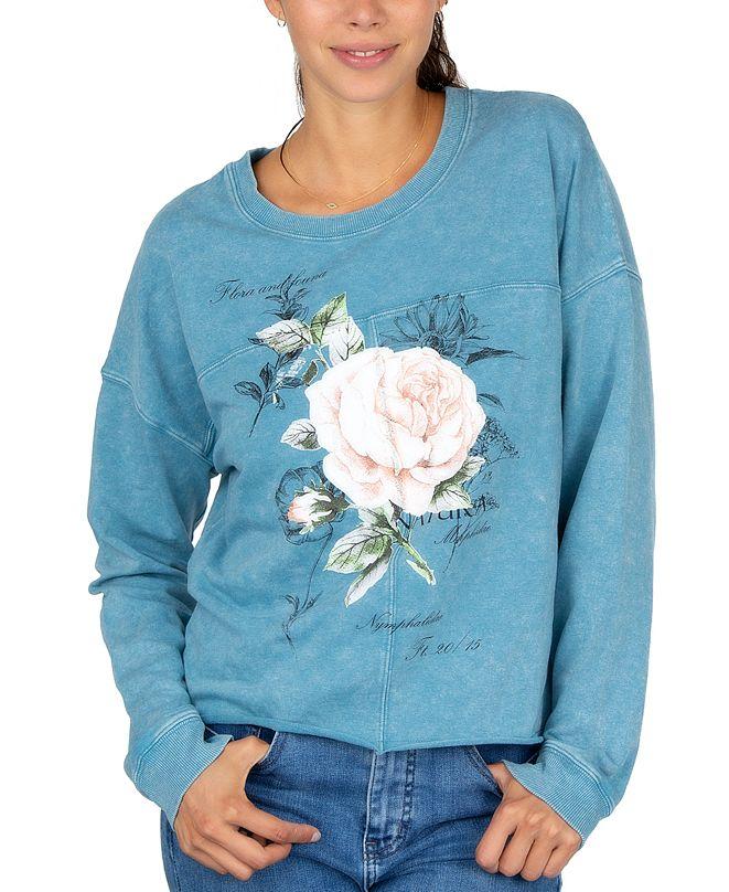 Rebellious One Juniors' Rose Crewneck Sweatshirt