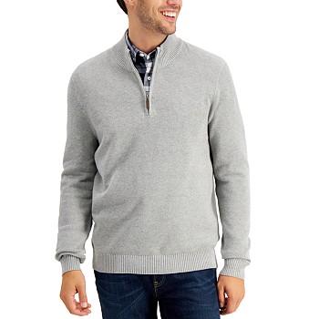 Club Room Men's Quarter-Zip Textured Cotton Sweater