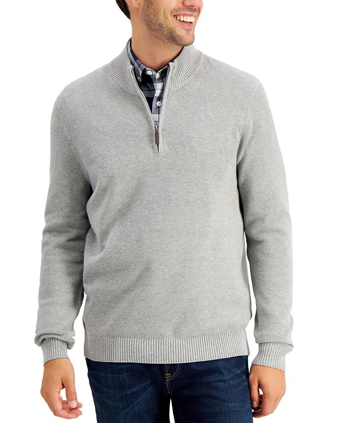 Club Room - Men's Quarter-Zip Cotton Sweater