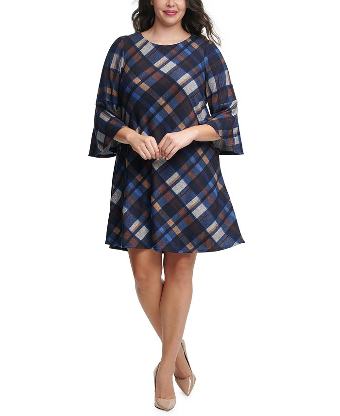 Jessica Howard - Plus Size Plaid Bell-Sleeve Dress