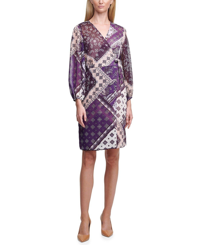 Calvin Klein Printed Chiffon A-Line Dress