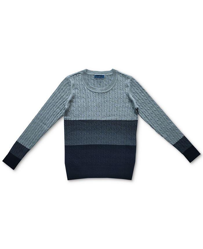 Karen Scott - Erica Cable-Knit Colorblocked Cotton Sweater