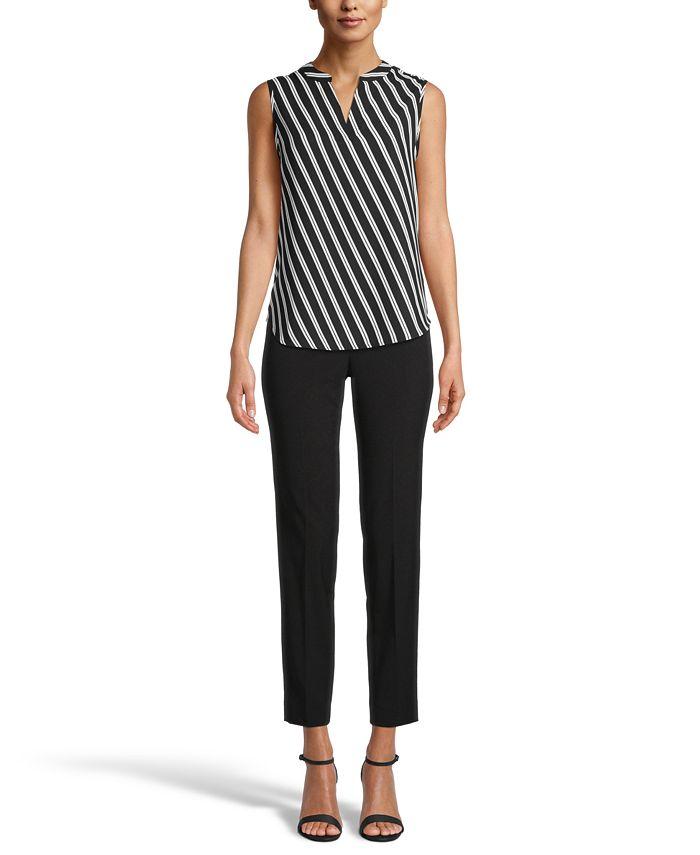 Anne Klein - Sleeveless Striped Split-Neck Top