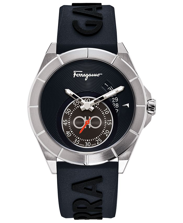 Ferragamo - Men's Swiss Urban Blue Silicone Strap Watch 43mm