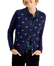 Charter Club Horse-Print Cardigan, Created for Macy's