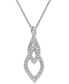 """Diamond Abstract 18"""" Pendant Necklace (5/8 ct. t.w.) in 14k White Gold"""
